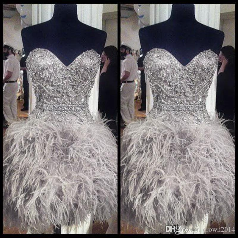 2020 Short Prom Dresses With Feathers Sweetheart Neck Corset Lace Up Back Graduation Homecoming Dress Beading Crystal Cocktail Girls Gowns