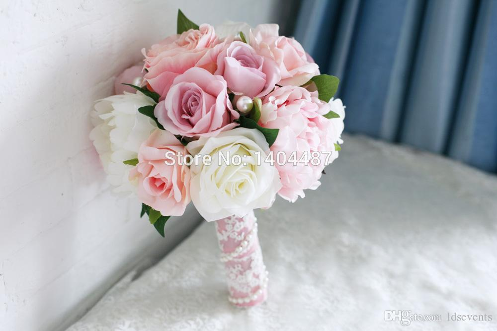 flower bouquets wedding light pink artificial vintage wedding bouquets brooch 4145