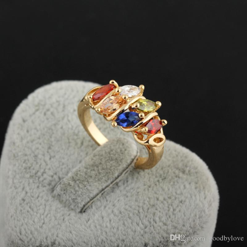 New Multicolor Cubic Zirconia CZ Cluster Yellow Gold Color Party Finger Ring Fashion Jewelry Bijoux Gift for Women Girls