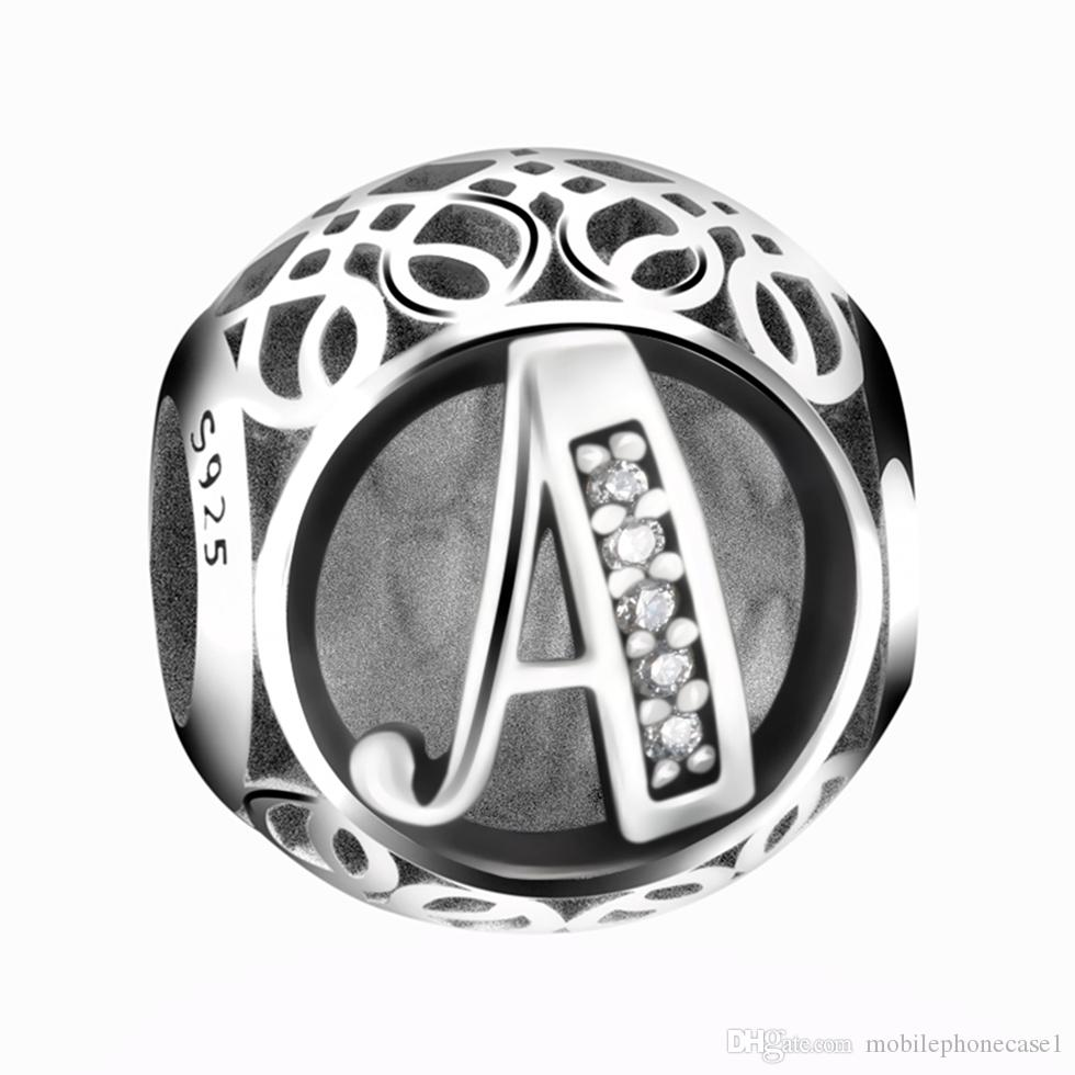 925 sterling silver alphabet A letter bead charms fit DIY bracelet & necklace jewelry accessories