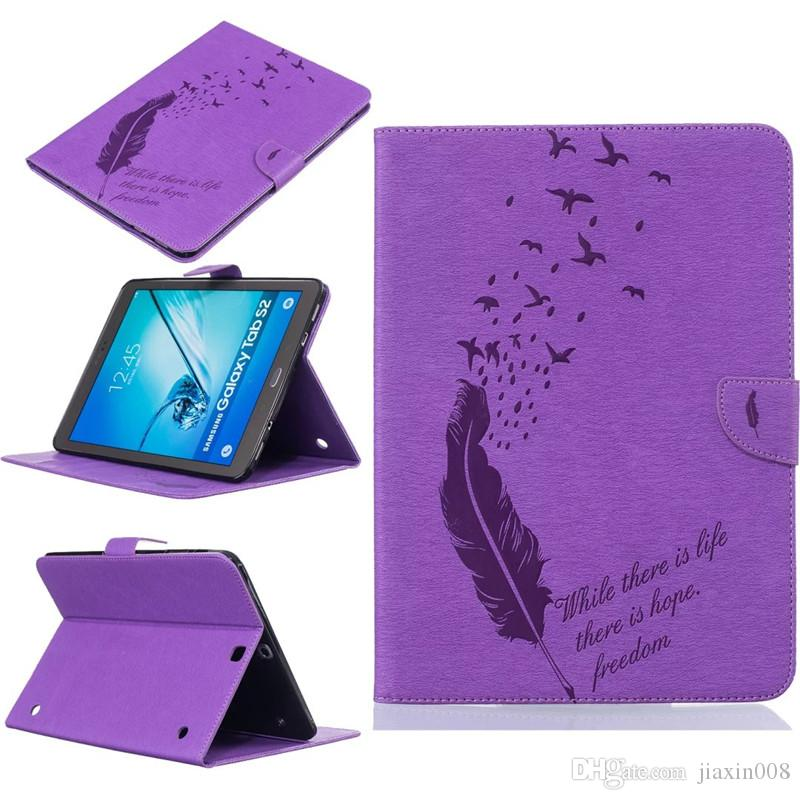 For Samsung Galaxy Tab S2 9.7 T810 T815 Tablet Leather Case Filp Cover Wallet Stand With Card Slot Embossed Feather bird Desgin