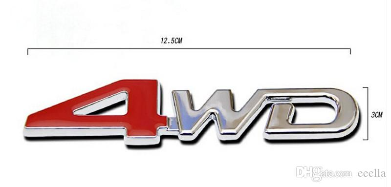3D ABS Chrome 4WD Emblem Badge Sticker 4WD Decal Accessories Sport Stickers For Toyota Highlander For NISSAN X-Trail Xtrail