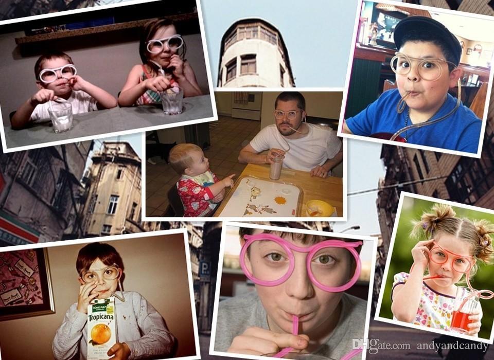 ديي سخيفة القش مضحك أنيق الكرتون مجنون نظارات الشرب القش البلاستيك برواري إمدادات حزب هدية للأطفال لون عشوائي