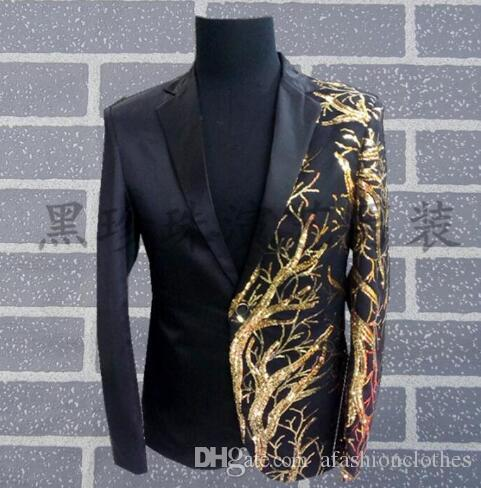 4fe4bc2f3f07 2019 Black Men Suits Designs Masculino Homme Terno Stage Costumes For Singers  Men Sequin Blazer Dance Clothes Jacket Style Dress 78963214 From ...