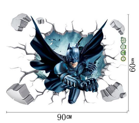 3D Wallpaper Cartoon gebrochen Wandaufkleber Batman Wandbild Aufkleber Schlafzimmer Fenster Glas Hintergrund Kunst Aufkleber