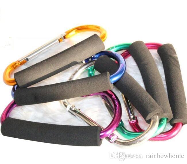 Spugna di grandi dimensioni colorato in lega di alluminio D forma di arrampicata pulsante moschettone portachiavi all'aperto pattini pattinaggio a rotelle fibbia supermercato OEM