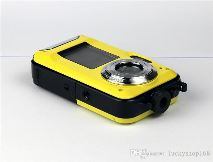 Cámara digital a prueba de agua de pantalla doble de 24MP máx. Pantalla de 2.7 pulgadas +1.8 pulgadas Cámara HD CMOS 16x Cámara a prueba de agua con zoom