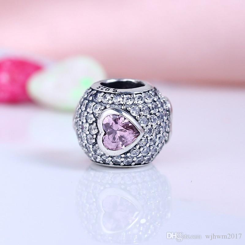 Coração de cristal cor-de-rosa Coração encantos encantos 925 esterlina-prata-jóias Cristal Bead Dia dos Namorados Fit Braceletes Marca