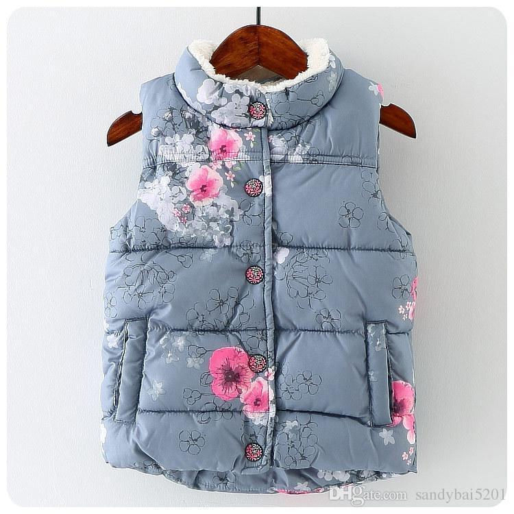e417b7456 Baby Girls Floral Print Waistcoat 2017 Winter Kids Girls Graffiti ...