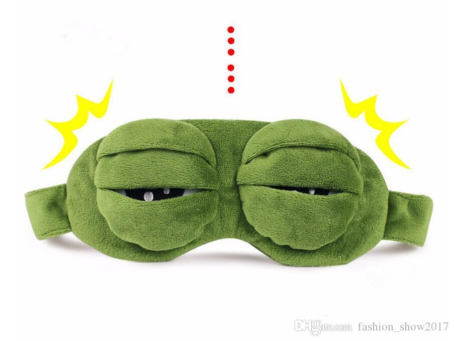 Moda Kawaii Travel Sleep Eye Mask 3D Sad Frog Funda de sombra acolchada Dormir Cerrado / Ojo abierto Máscara divertida