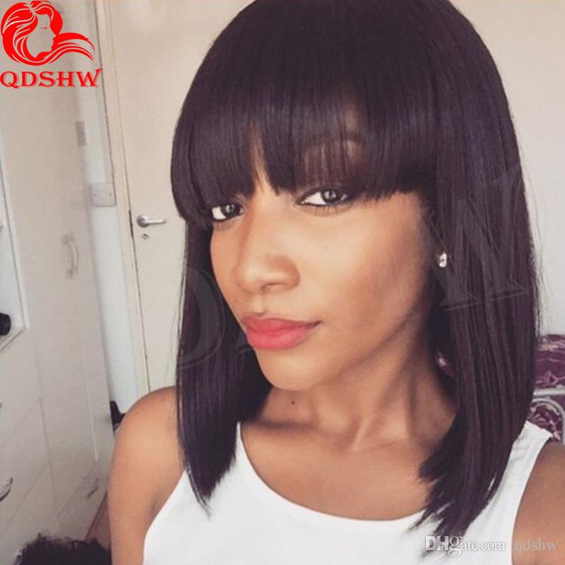 Short African American Human Hair Bob Wigs With Bangs Straight Virgin Peruvian Lace Front Human Hair Bob Wigs For Women