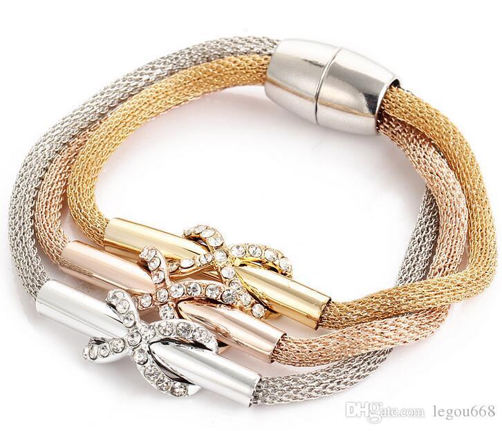 Women 's alloy bracelet mesh crystal twist 8 word cross magnet buckle three - color multi - layer bracelet G284