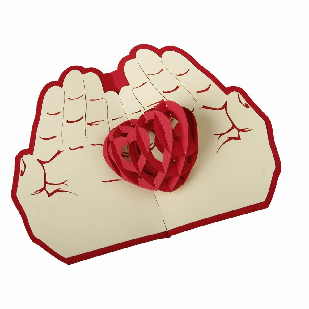 3d Pop Up Greeting Card Paper Carving Heart In Hand For Lover