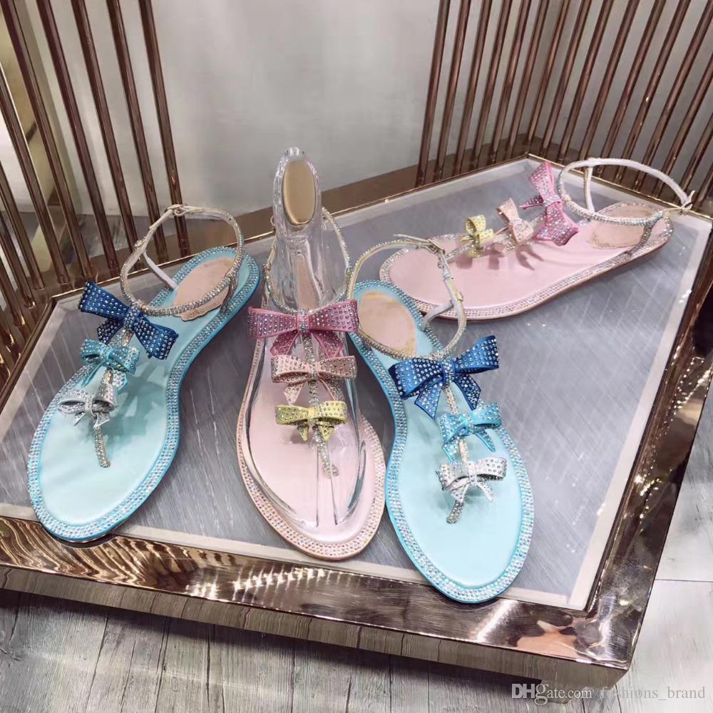 2017 여성 패션 나비 매듭 크리스탈 다이아몬드 가죽 플랫 신발 라인 석 플립 플롭 Gladiator 샌들 여성 Sweet Party Shoes