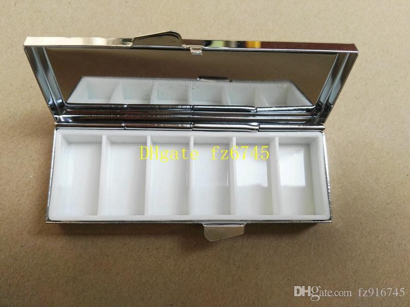 Fast shipping Blank Rectangle Pill Boxes Metal Pill Container 6 Grids Mini Portable Travel Case
