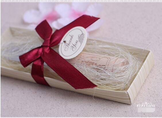 스테인레스 스틸 스프레더와 와인 코르크 손잡이 버터 나이프 결혼식 호의 및 선물 상자가있는 아기 샤워 호의 DHL 무료 배송