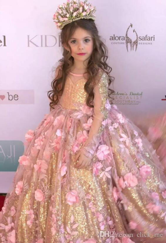 Gorgeous Girls Pageant Dresses With Sheer Neckline Illusion Long Sleeves Flower Girls Dresses Gold Sequins Handmade Flowers Kids Party Gowns