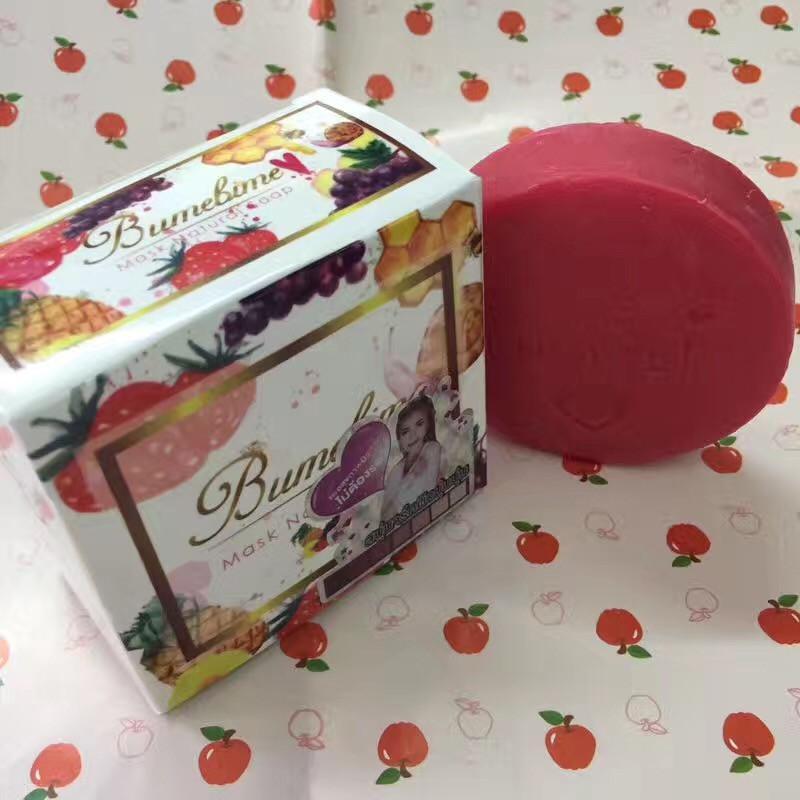 heißer Verkauf Bumebime Handarbeit Whitening Seife mit Obst wesentliche natürliche Maske weiß hell Öl Seife DHL