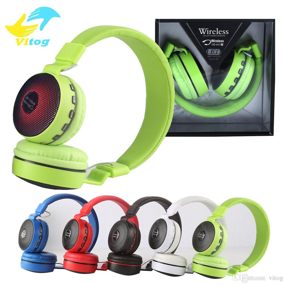 2017 MS-661 wireless bluetooth headset earphone with flash light 5 color  bass stereo headphone with mic for iphone 7 samsung s8 plus