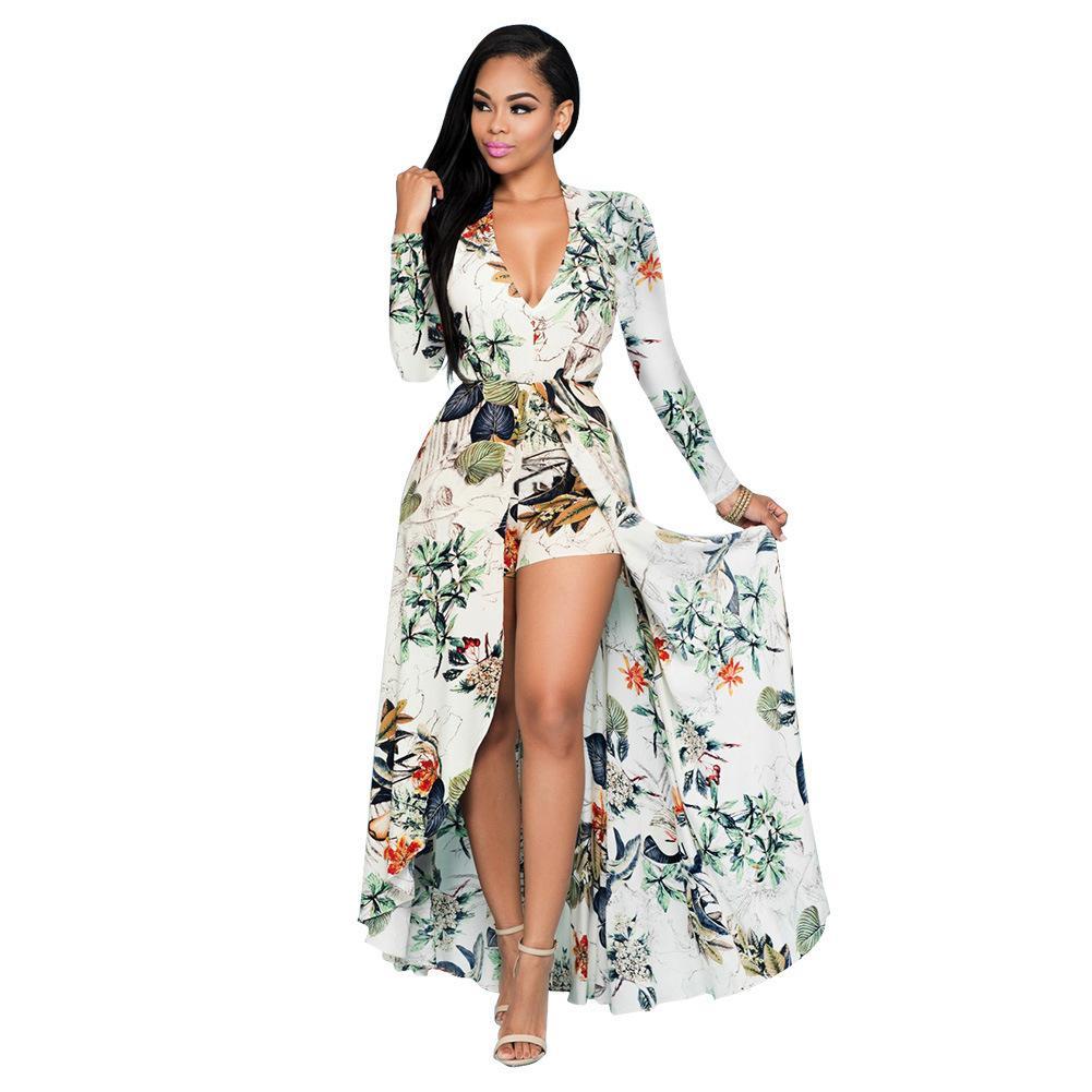 on sale 4dc07 5bd84 2016 Maxi vestiti eleganti di alta qualità delle donne Vestiti da partito  sexy Nuovo vestito da spiaggia chiffon Pantskirt della stampa europea del  ...