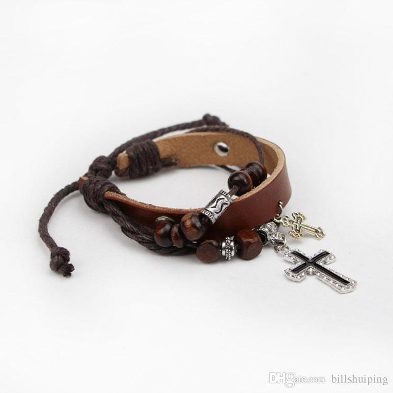 New Men women Punk Handmade Fashion Leather Rope Cross Braided Bracelet Wristband Cuff Bangle