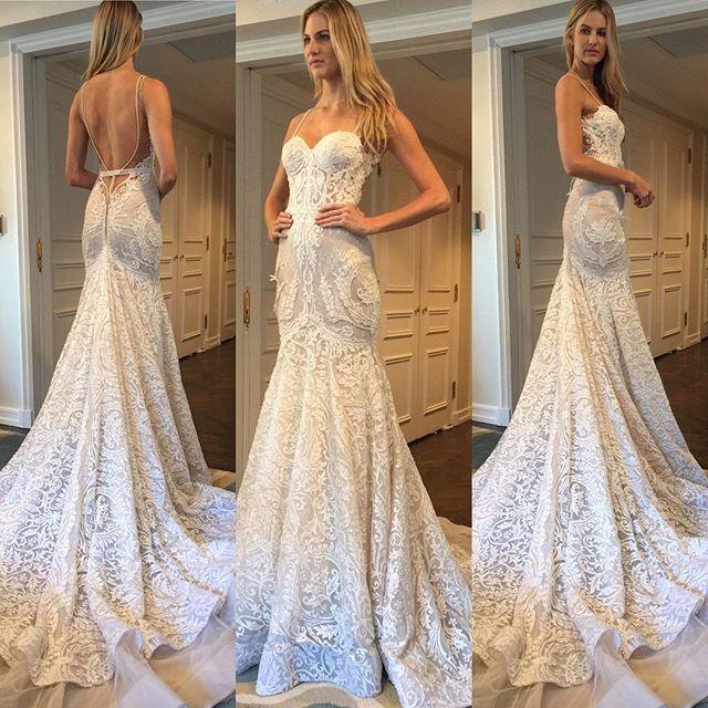 2017 Lindo Verão Boho Sereia Rendas Vestidos de Casamento Bohemian Querida Backless Lace Apliques Feitos Sob Encomenda Berta Vestidos de Noiva