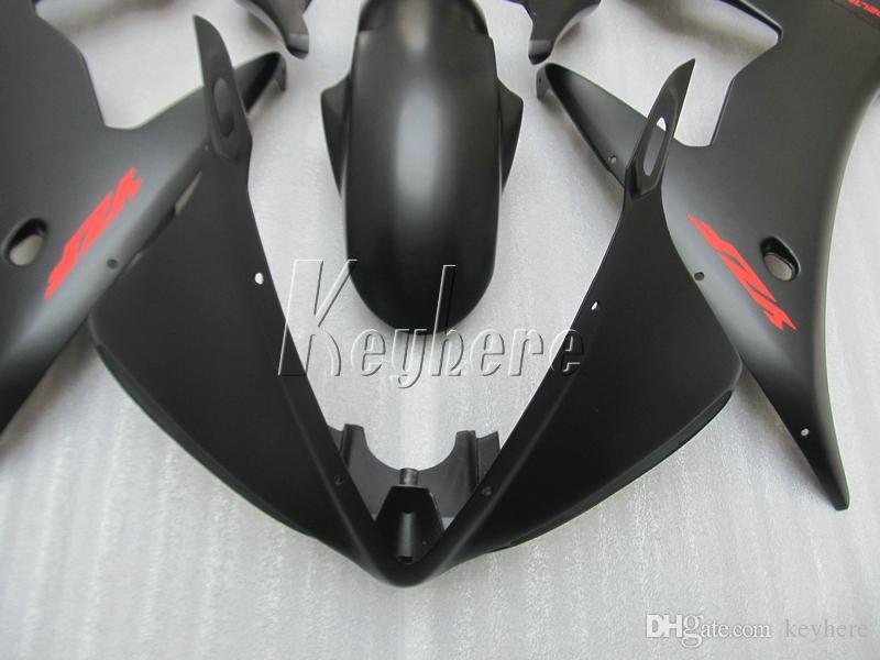 Satış sonrası vücut parçaları kaporta kiti YAMAHA R6 2003 2004 2005 için mat siyah kaporta seti YZF R6 03 04 05 IY05