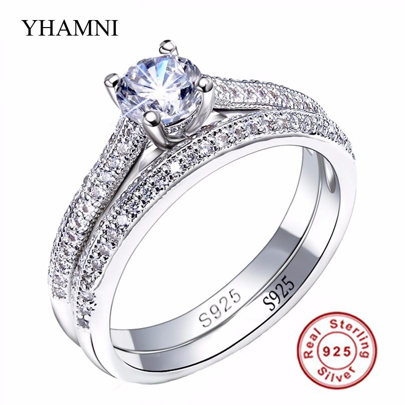 2017 Sona Cz Diamond Engagement Rings Set 925 Sterling Silver