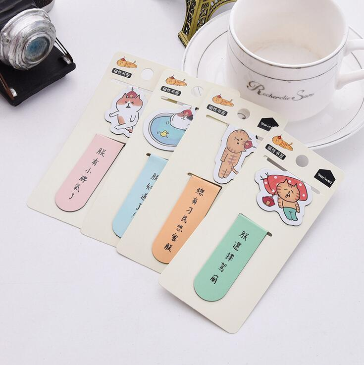 2 pcs/pack You Know I'm Tired Cat Magnet Bookmark Paper Clip School Office Supply Escolar Papelaria Gift Stationery