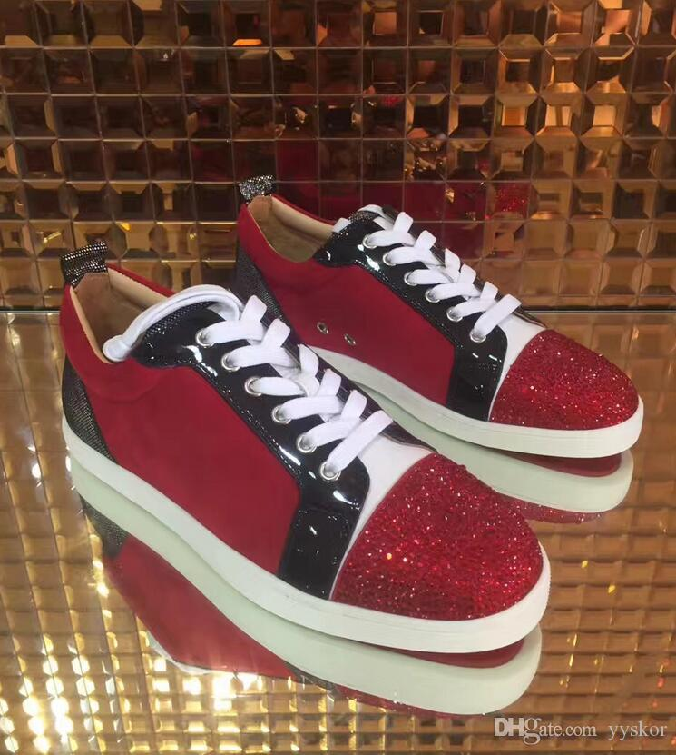 a054ac5914273d Low Cut Suede Spiked ShinyToe Casual Flats Red Bottom Sneaker Luxury ...