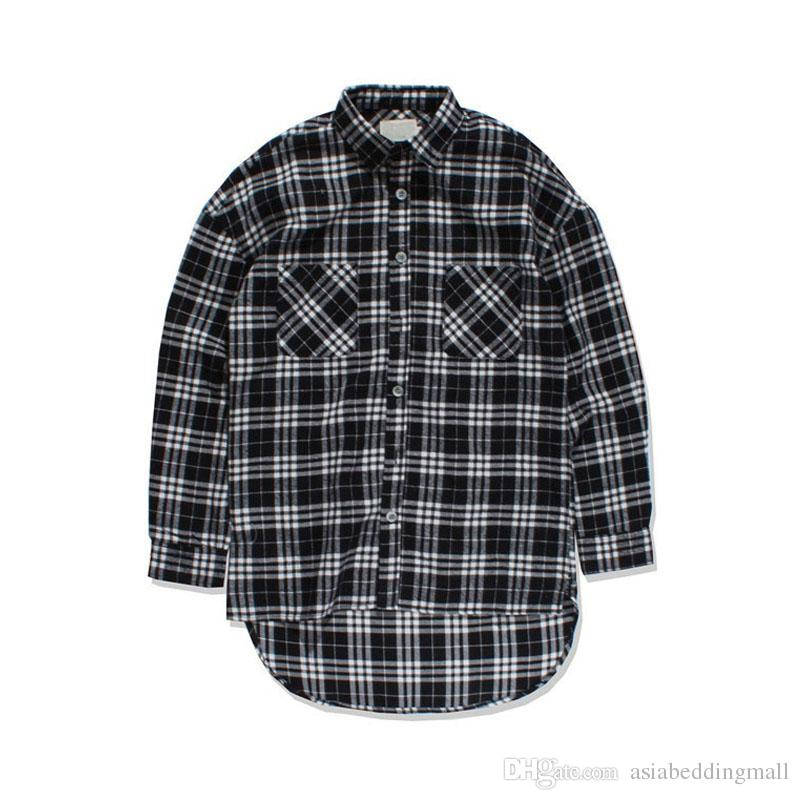 9c11bc710ae5bd 2019 Black White Plaid Flannel Shirt Men Long Sleeve 2017 Spring Fron Short  Back Long Hip Hop Shirt Oversized Shirts Justin Bieber From  Asiabeddingmall, ...