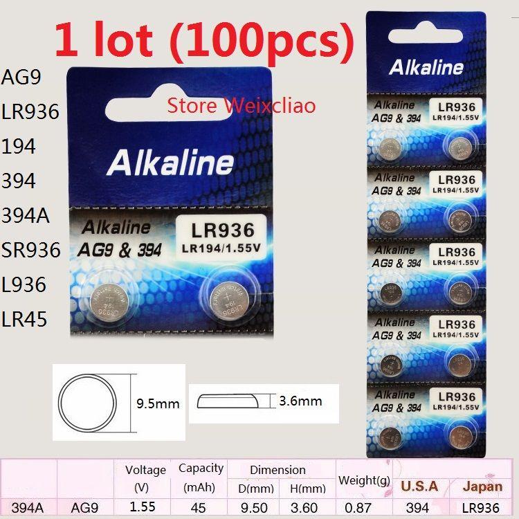 100 قطع 1 وحدة AG9 LR936 194 394 394A SR936 L936 LR45 1.55 فولت بطاريات زر خلية البطارية القلوية شحن مجاني