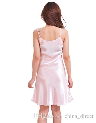 2017 Ladies Sleepwear Singlet Dress Sleepshirts PJS Klänningar Korta Sexig Lyxig Solid Bride 2 st / # 4031