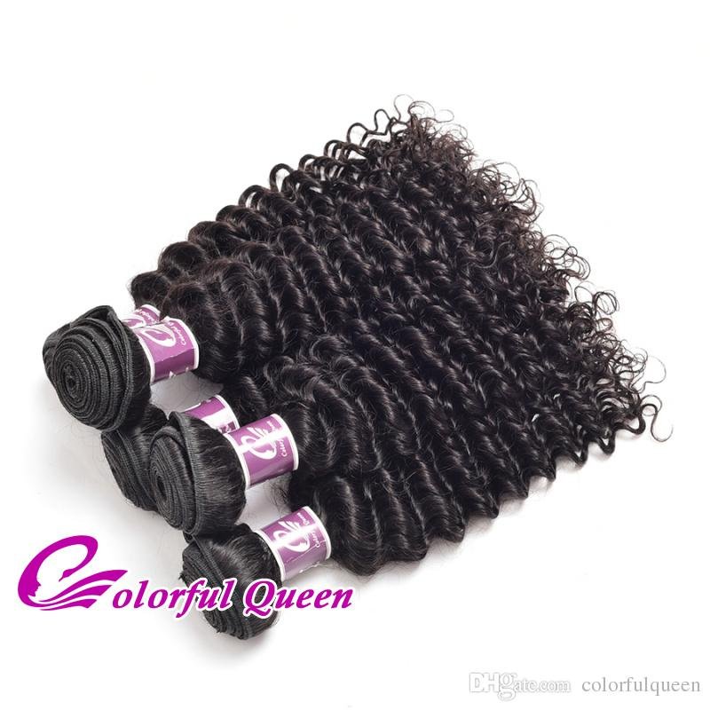 Malaysian Hair Deep Wave 3 Bundles 7A Grade Virgin Unprocessed Human Virgin Hair Extensions Malaysian Curly Hair Weave Bundles 8-26 Inches