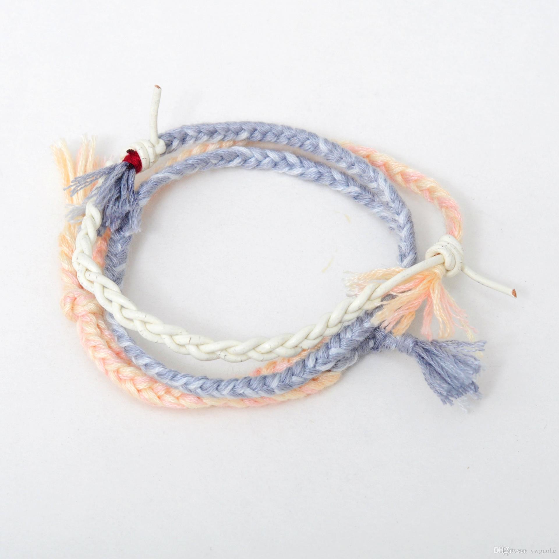 인기 유니섹스 매력 팔찌 간단한 멀티 컬러 커플 팔찌 한 묶음 핸드 메이드 팔찌 무료 배송