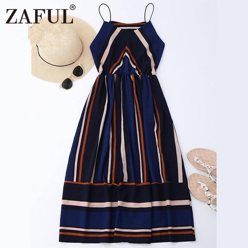 8703ffa46c 2019 Wholesale ZAFUL Women Retro Dresses Summer Striped Vintage Dress Maxi  Sleeveless Evening Party Dresses Feminino Vestidos De Festa Robe From  Jst2015