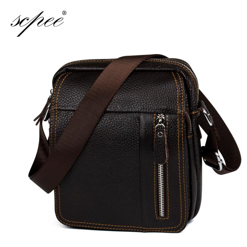 Wholesale- SCPEE Genuine Leather Men Messenger Bag Gentleman Business  Package Leather Men Messenger Bag Brand Small Fashion Bag Leather Men  Messenger Bag ... 8ca428d7cb