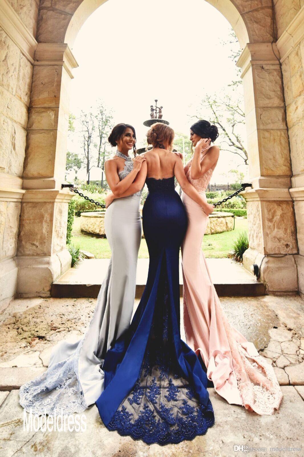2019 nouveau design argent blush dentelle robes de demoiselle d'honneur licou dos nu sirène longue marine bleu formelle robe de mariage invité robes de soirée pas cher
