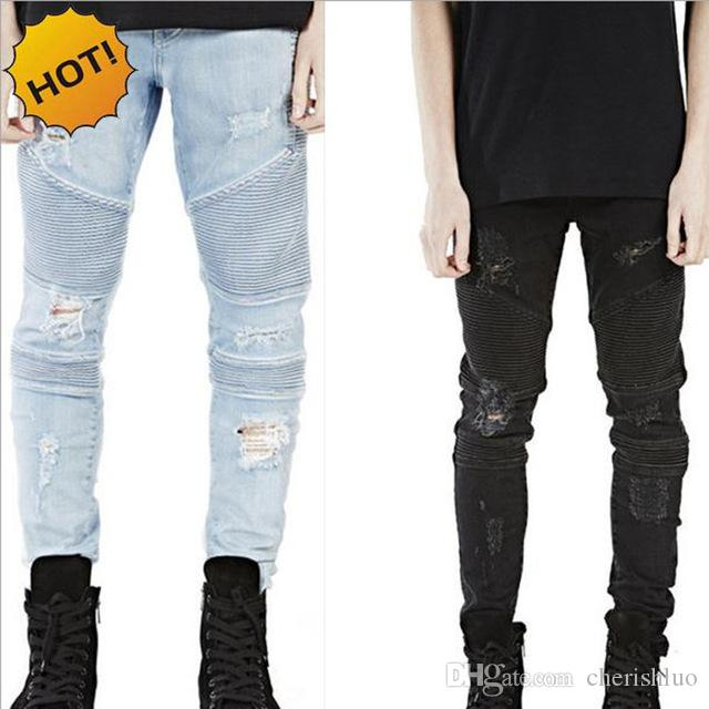 2caf3be610a Hot 2017 Hip Hop Hole Ripped Jeans Men Fashion Pleated Runway Distressed  Biker Boy Blue Black Motorcycle Trousers Bottoms 28 40 Canada 2019 From  Cherishluo