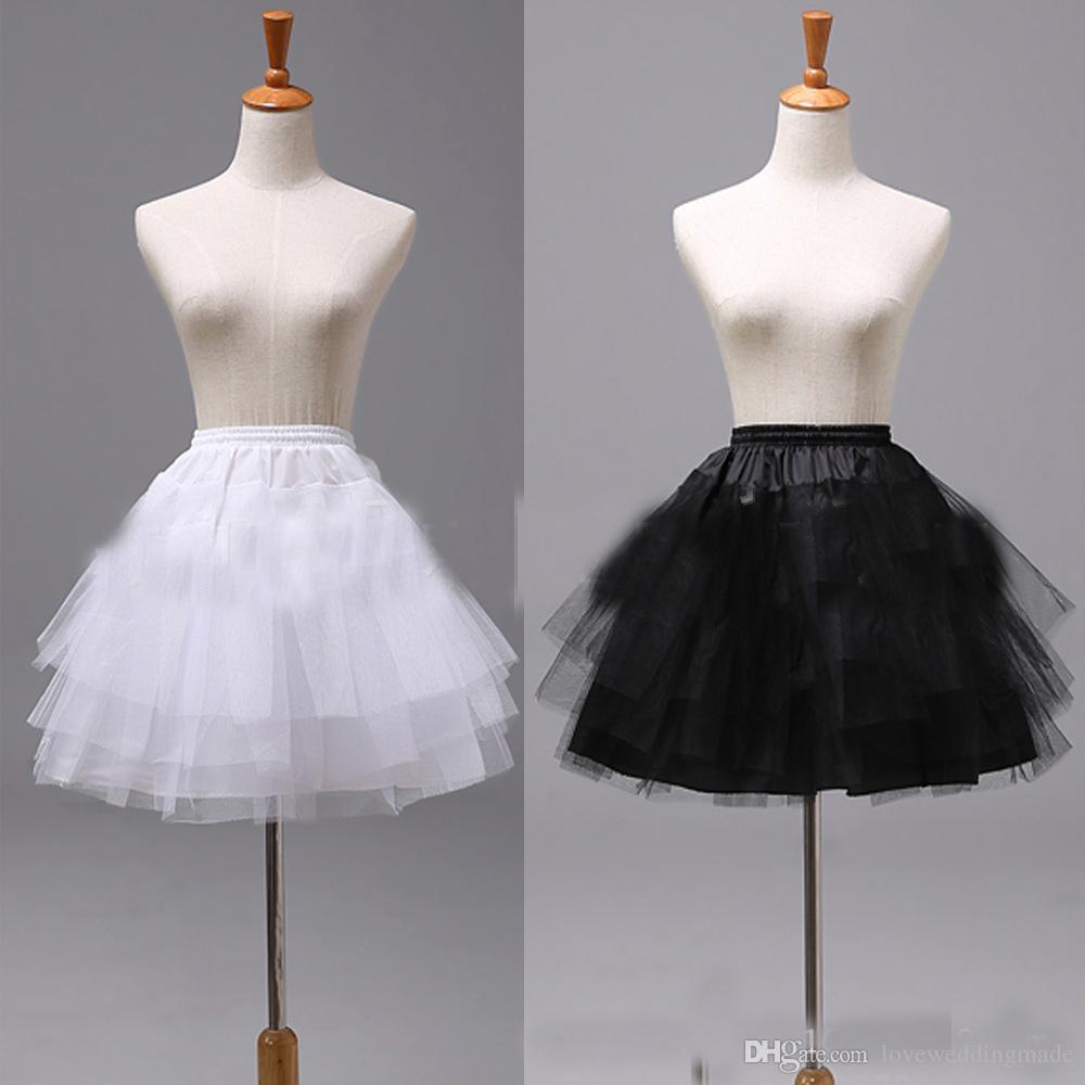 Großhandel Schwarz Und Weiß Kurze Kinder Petticoat Organza Blumenmädchen  Unterrock Für Hochzeitskleid Krinoline Rock Jupon Günstige P18 Von
