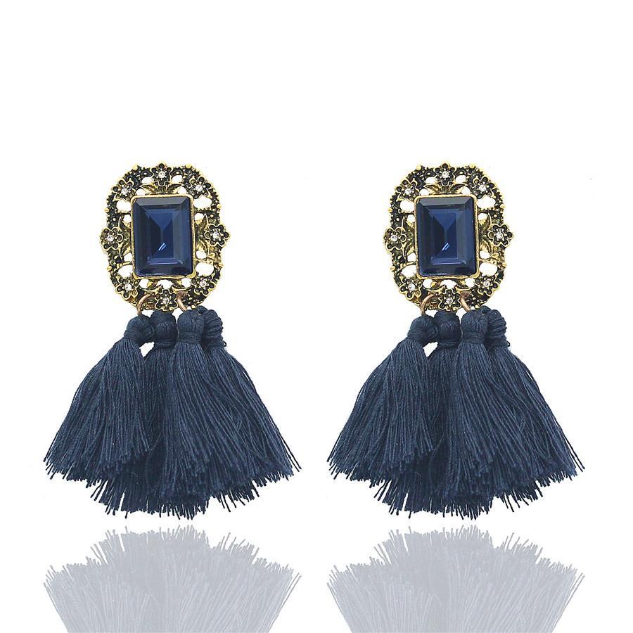 ADOLPH gioielli all'ingrosso 2017 stravaganza design orecchino strass filo di cotone nappa orecchini migliore regalo la donna