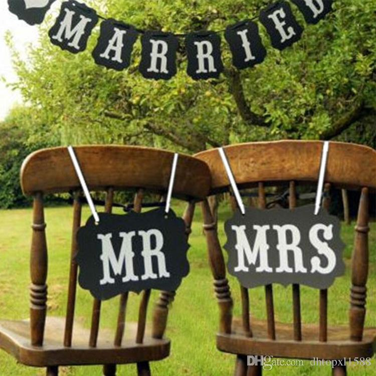High Quality Mr And Mrs Wedding Sign Black Vintage Wooden Signs Chair Backs Party Photography Props