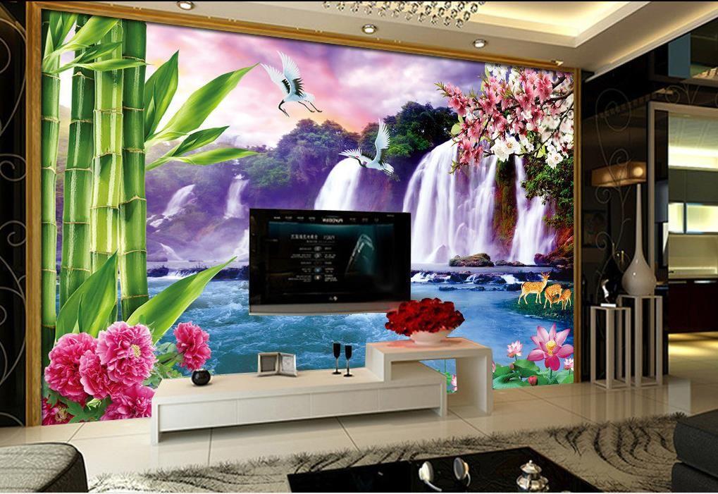 Taze büyük şelale TV duvar duvar kağıdı 3d tv fon için 3d duvar kağıtları
