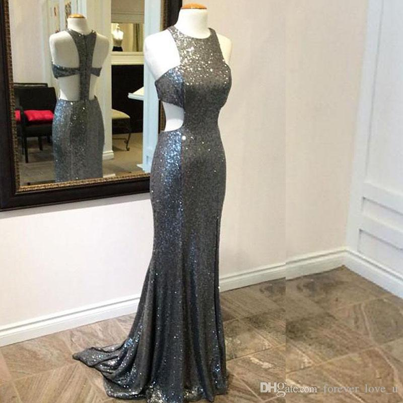 sequined dresses 2017 Bling Bling Grey Sequins Evening Dress Jewel Neck Sleeveless Sexy Cut Out Design Mermaid Prom Party Gowns Sweep Train