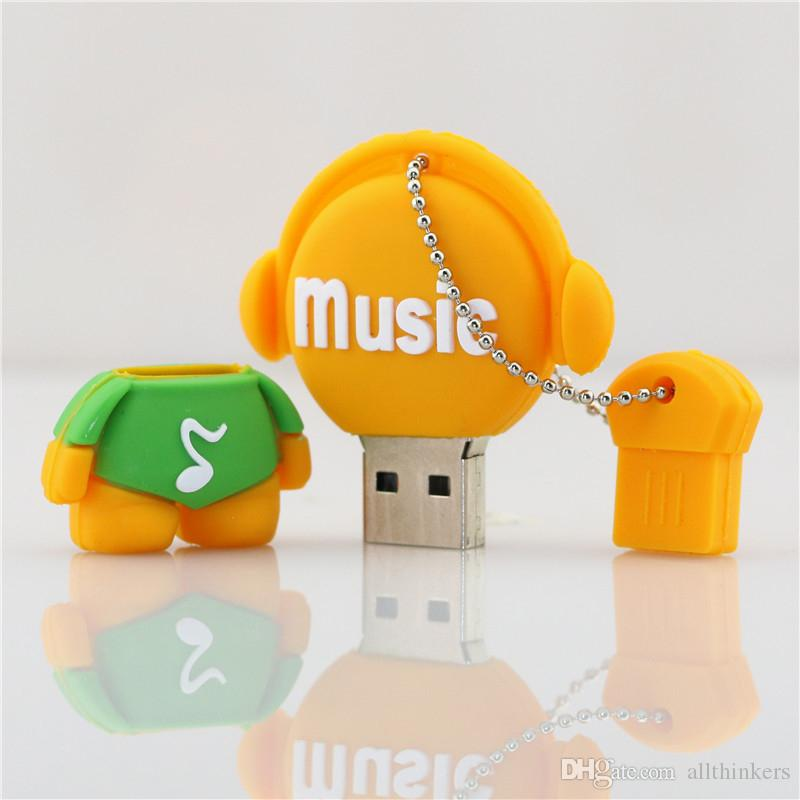 Envío gratis PenDrive Cartoon 32GB Music Man USB Flash Drive 4GB 8GB 16GB 32GB Flash Drive Músico Memoria Flash Stick Lindo Cartoon U Disco