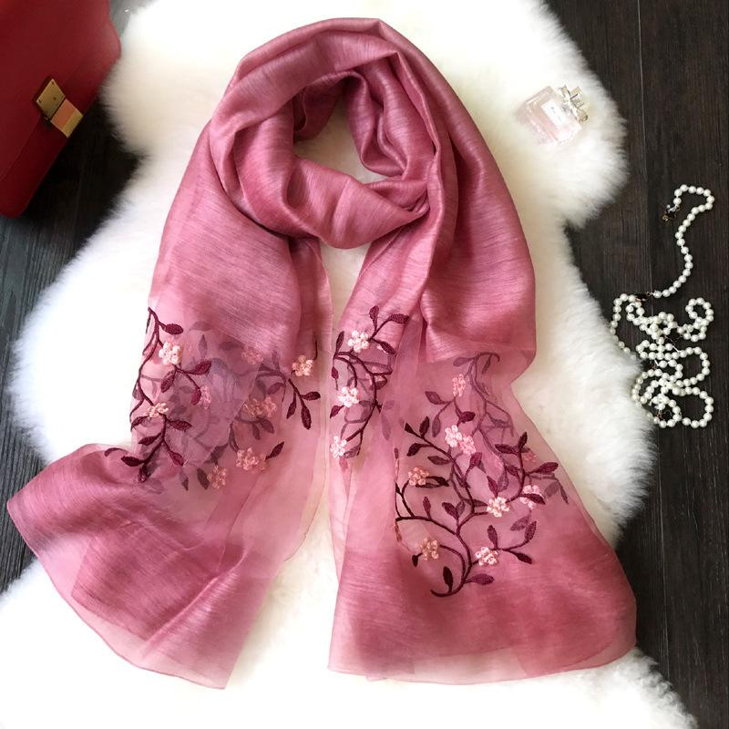 2019 women's fashion cotton scarf shawl collar girl pop wind embroidery may the flowers in China