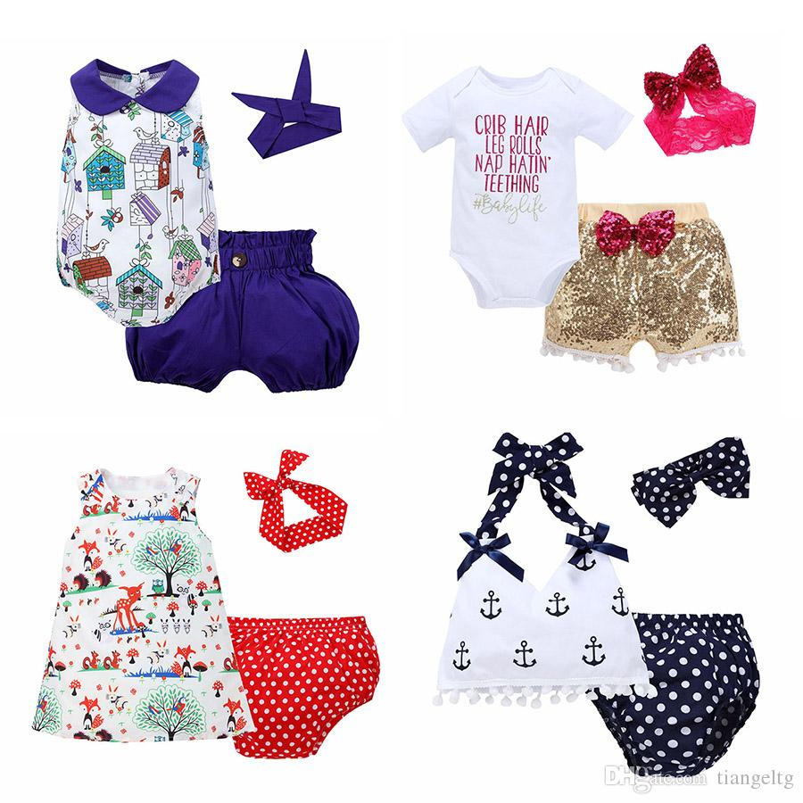 84c9a973a23 2019 Baby Three Piece Clothing Sets Baby Rompers Children Jumpsuits For  Boys Girls Pants Shorts Hairbands Hats Tops 6M 3T From Tiangeltg