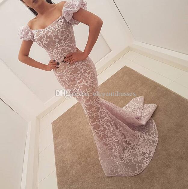 新しい到着フィット2021絶妙なガウンレースの人魚の床の長さのイブニングドレスウエディングドレスアラビアのドレスプロングパーティーガウン