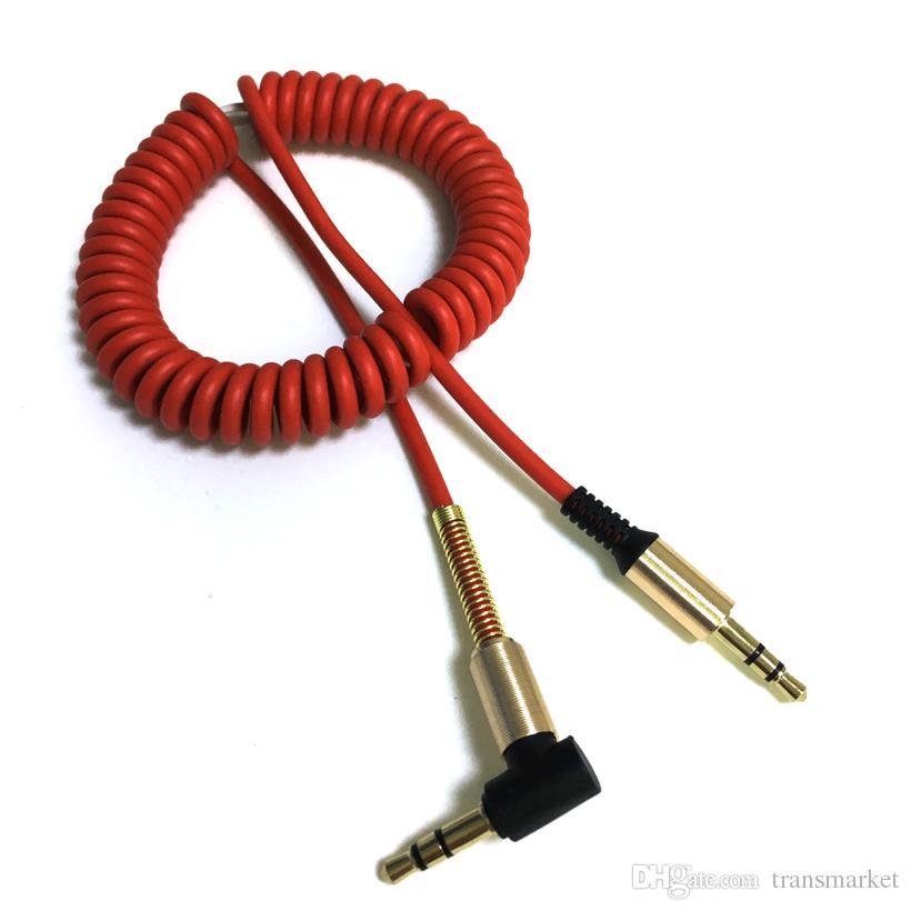 Coiled 3.5mm Aux Ses Kablosu 3.5 Jack Erkek Altın Kaplama Stereo Audioe Kablo iphone 6 7 Bilgisayar TV Araba hoparlör 2017 Yeni Varış