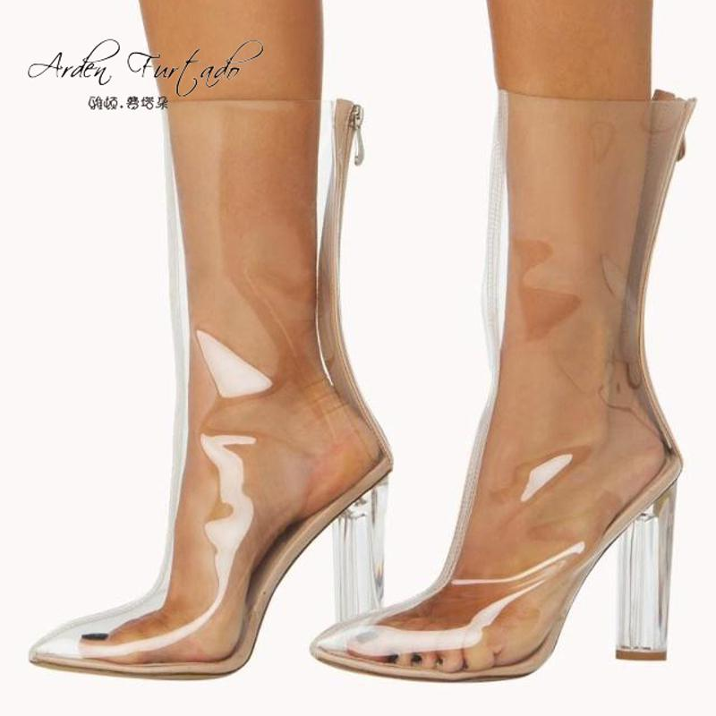 c4a366bd5 2018 summer boots Crystal heel ankle boots for women high heels knee-high  Half boots shoes for woman clear shoes plus size US12